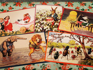 Fabulous glittered vintage style spring postcards, images taken from antique German greetings cards. Cuddling cats, playful jungle animals, hares and ants😁,all the Spring joy!  Postcards come with envelopes