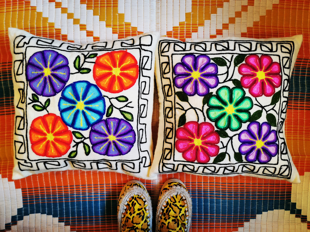 Crewel work embroidered wool cushions from Bolivia with the most fabulous fluorescent flowers.   18 inch square  Feather pad included