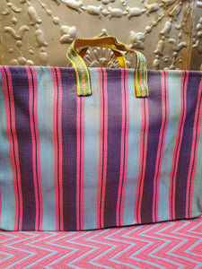 Medium zip striped Indian market bag