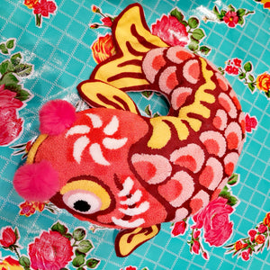 Embroidered lucky fish cushion