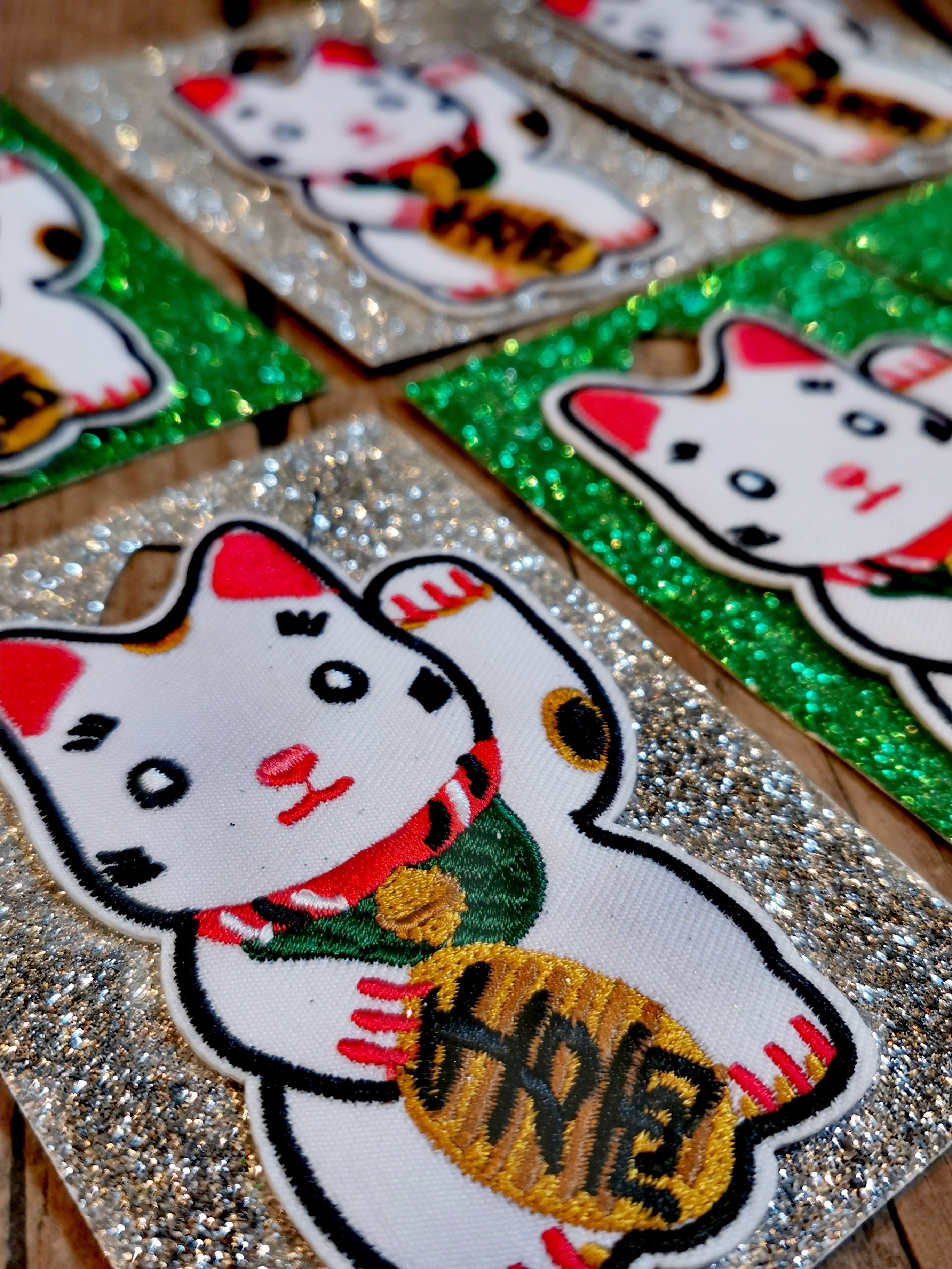 We love a cat, and we love a lucky cat even more!! This iron on patch is the cutest!  9cm x 5.5cm  Iron on from the reverse of the garment/fabric