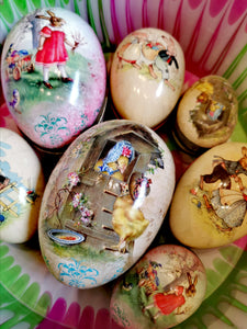 Beautiful German card eggs with vintage Easter illustrations, ready to fill with treats!  Paper and card  11cm x 7cm x 7cm