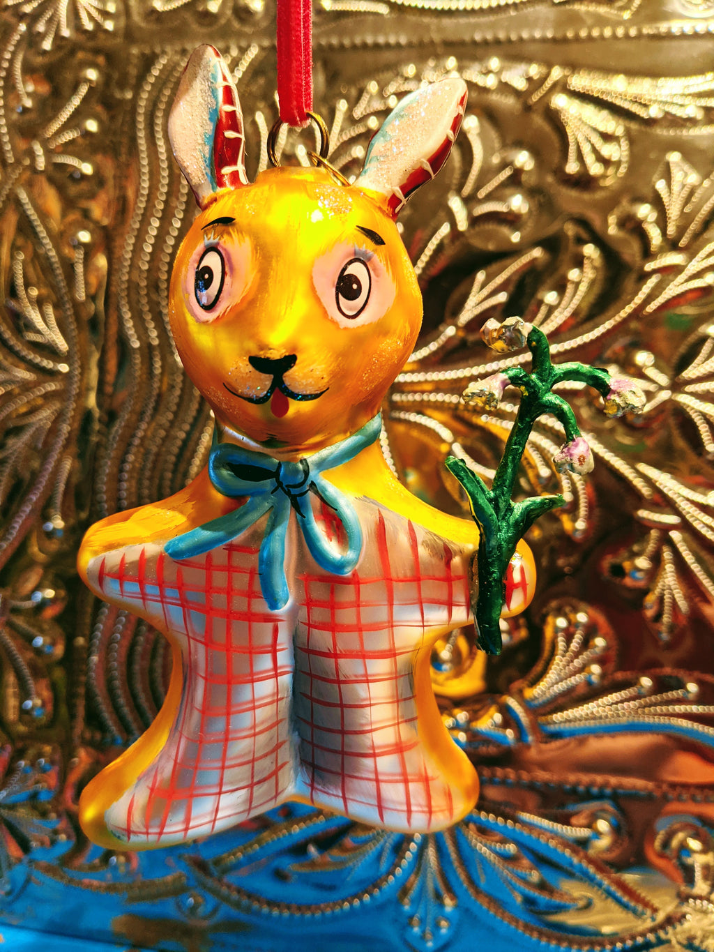 Gorgeous glass bauble with hand finished Nathalie Lete illustrations of a super cute tartan bunny  10cm Approx  Glass, fragile handle with care.