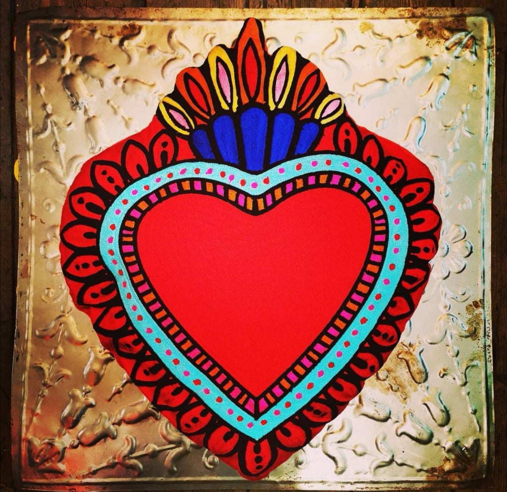 Super luxe embroidered Sacred heart cushions, designs based on our favourite Mexican milagros.  £23 inch high  Comes with filler