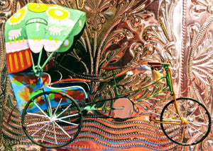 Beautifully hand painted Indian tin Rickshaw decoration ready for your Christmas tree or festive display!  17 x 13 cm