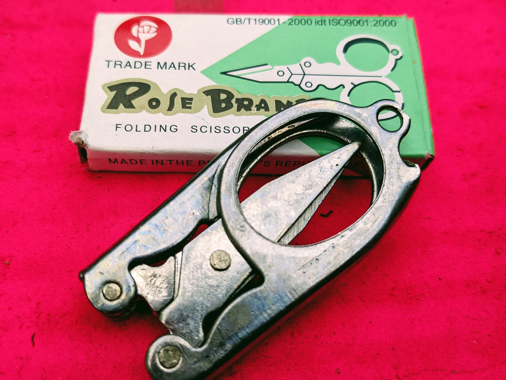 The ledgendary Rose brand scissor.  Set of 3 Stainless steel fold away indian scissors  Absolutely perfect for those christmas crackers and stocking fillers  Approx 5 x 3 cm
