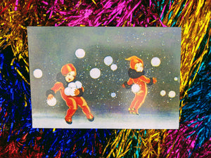 Vintage style snowball card  Catch the spirt of christmas with our snow ball card  Pack of 5 so everyone can share in the joy of a vintage christmas.  Dimensions 12 x 18 cm
