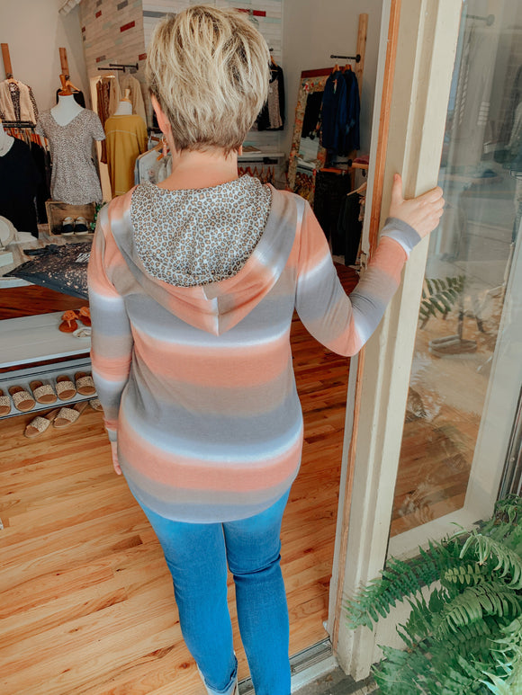 Amber Stripe Top with Leopard Hoodie-Top-Carolyn Jane's Jewelry