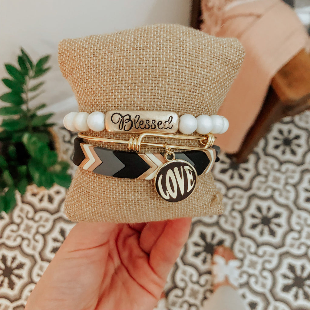 Black Chevron Stretch Bracelet-Carolyn Jane's Jewelry