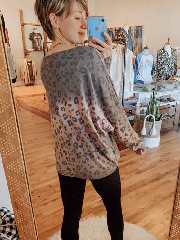 Blushing in Leopard Ombre Tunic Top with Dolman Sleeves-Top-Carolyn Jane's Jewelry