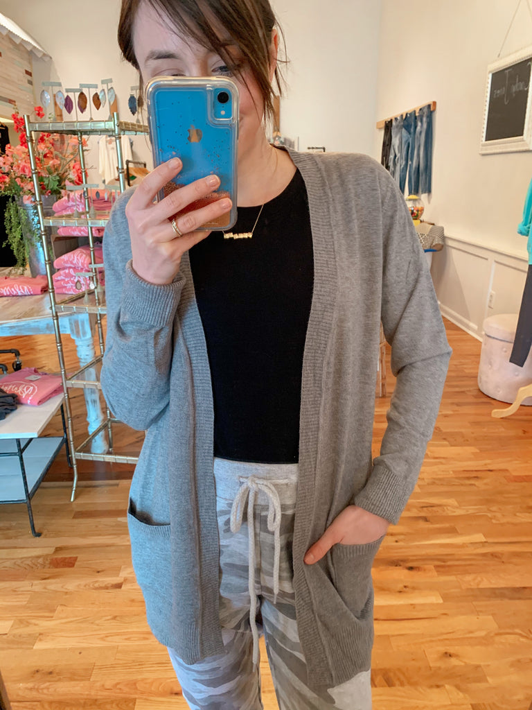 Buttery Soft Grey Cardigan-Carolyn Jane's Jewelry