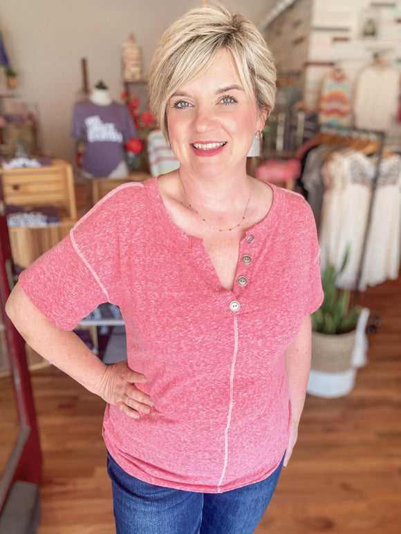 Button V-Neck Tee in Berry-Carolyn Jane's Jewelry