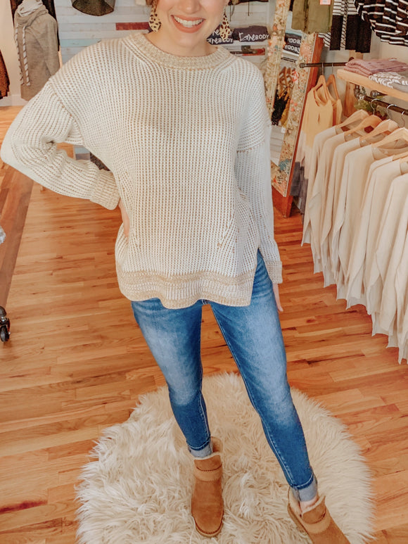 Carmel and Cream Chunky Knit Sweater-Sweatshirt-Carolyn Jane's Jewelry