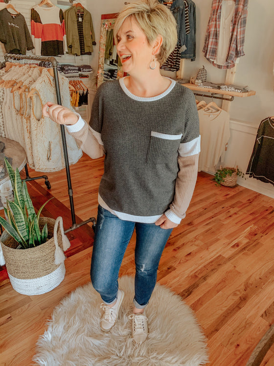 Chanell Grey Knit Top-Shirts-Carolyn Jane's Jewelry