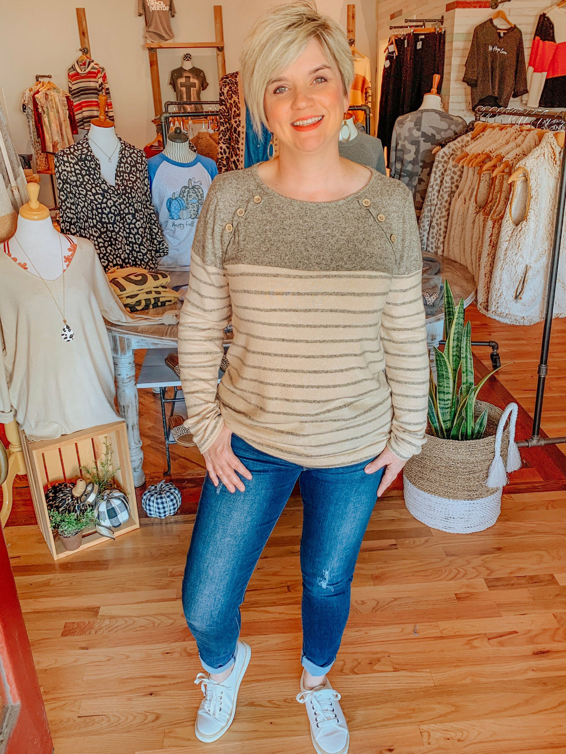 Chestnut in Stripes Knit Top with Button Detail-Shirts-Carolyn Jane's Jewelry