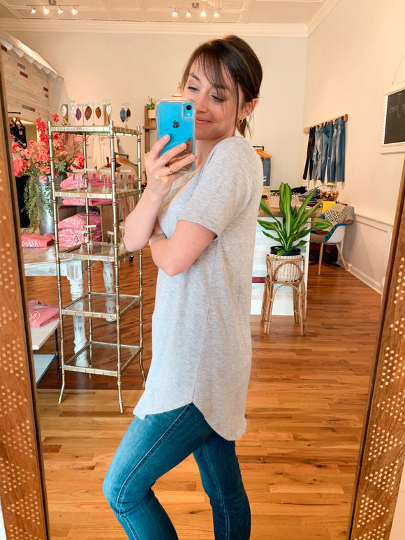 CJ's Basic Grey Tee-Carolyn Jane's Jewelry