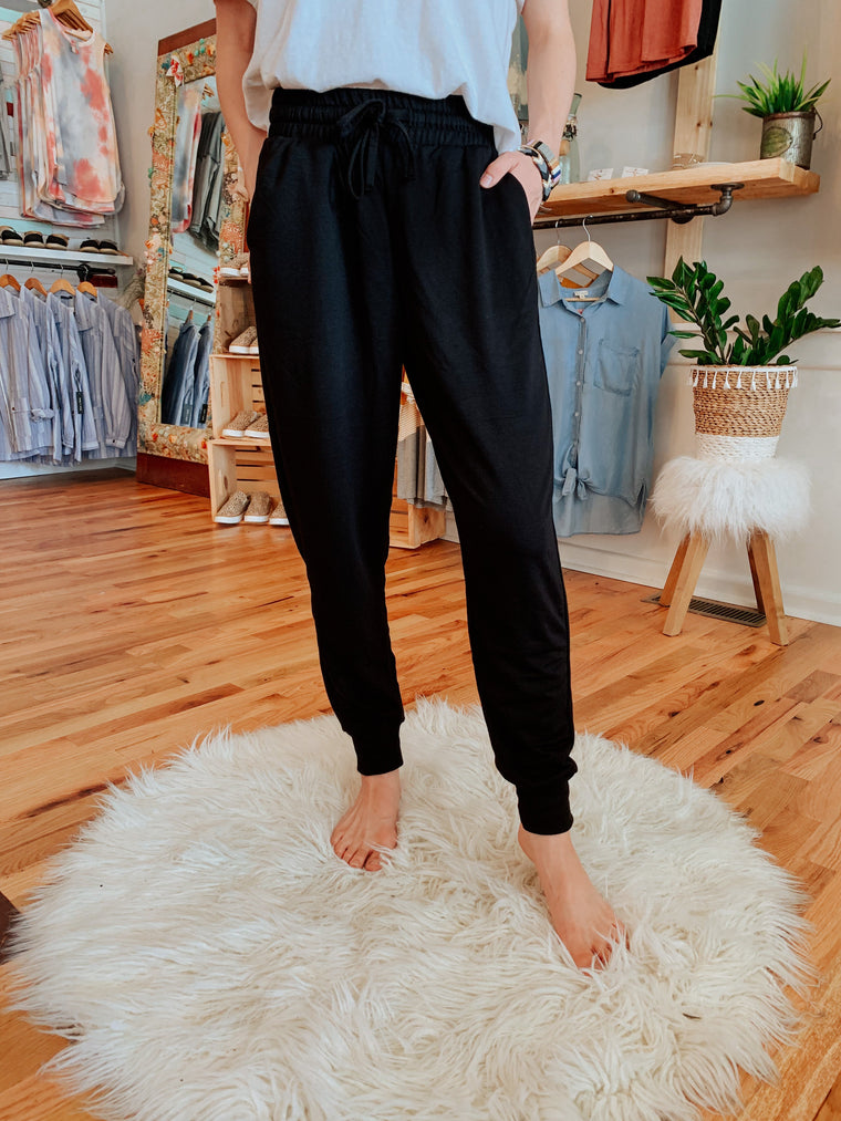 CJ's Comfy Black Jogger Pants-Carolyn Jane's Jewelry