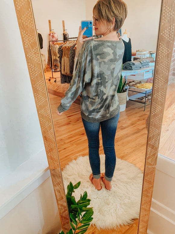 Comfy Livin' Camo Sweater Top-Carolyn Jane's Jewelry