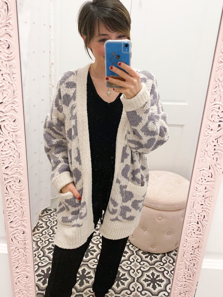Cozy Dreams Soft Leopard Cardigan-Carolyn Jane's Jewelry