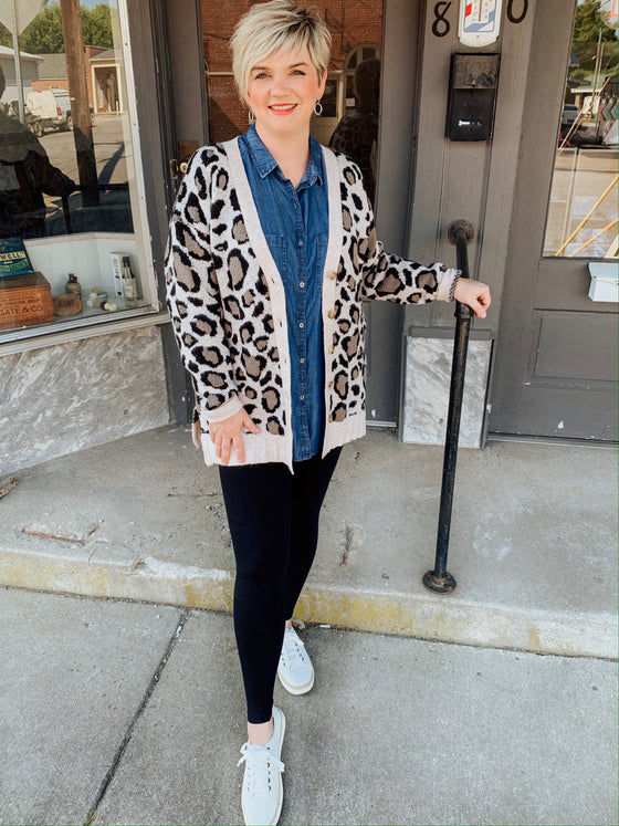 Cozy Up Leopard Button Cardigan-Carolyn Jane's Jewelry