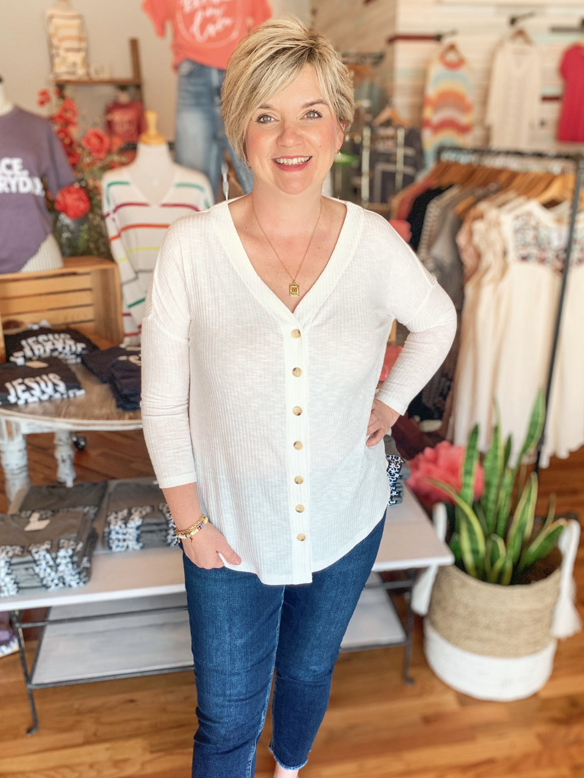 Elaine Button Down Top-Top-Carolyn Jane's Jewelry