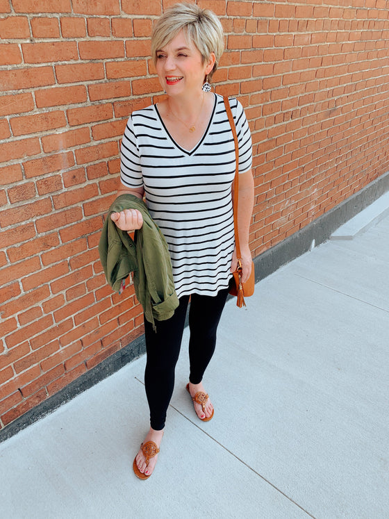 Everyday Fall Basic Ivory and Black V-Neck Striped Tee-Top-Carolyn Jane's Jewelry