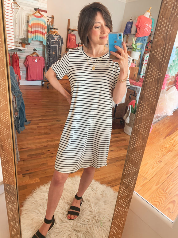 Everyday Striped T-Shirt Dress-Carolyn Jane's Jewelry