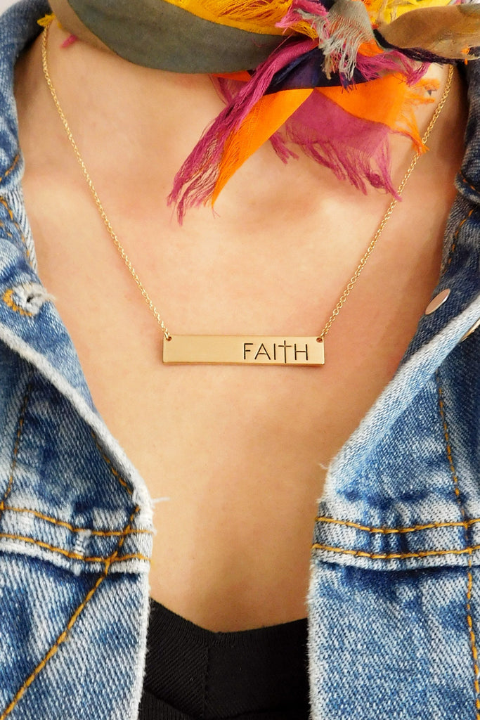 Faith Bar Necklace in Gold-Necklace-Carolyn Jane's Jewelry