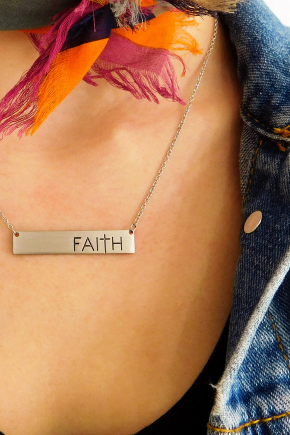 Faith Bar Necklace in Silver-Necklace-Carolyn Jane's Jewelry