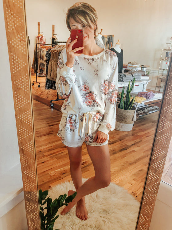 Floral Cozy Pajama Set Lounge Wear-Carolyn Jane's Jewelry