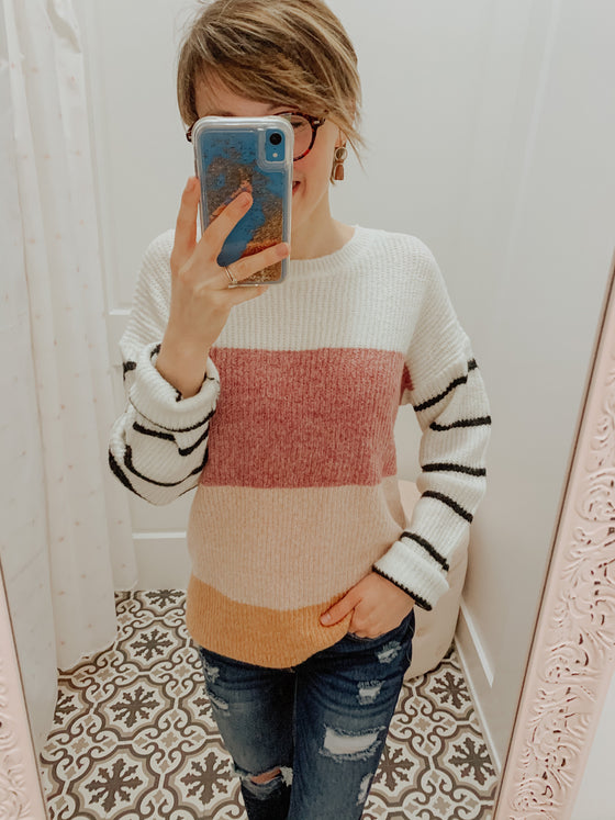 Ginger Color Block Stripe Sweater-Top-Carolyn Jane's Jewelry