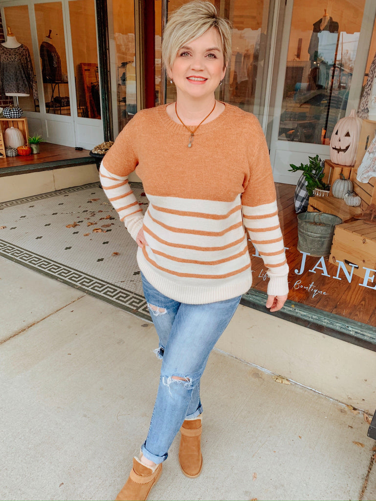 Give Thanks Striped Sweater-Carolyn Jane's Jewelry