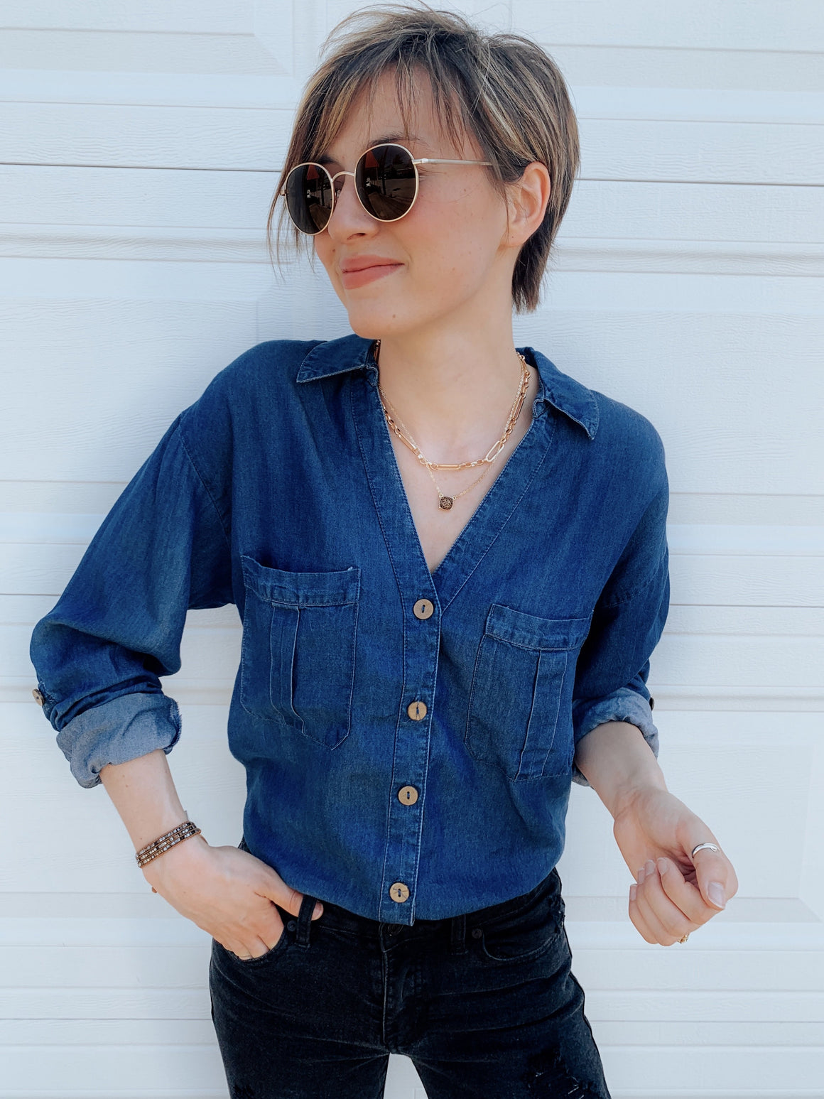 Good Time Denim Button Down Shirt-Carolyn Jane's Jewelry