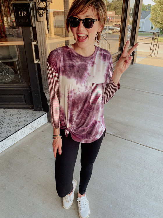 Happy Vibes Print Top in Purple-Carolyn Jane's Jewelry