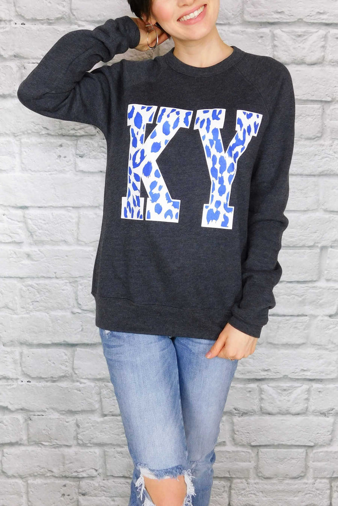 Kentucky Leopard Sweatshirt Charcoal Heather Grey-Sweatshirt-Carolyn Jane's Jewelry