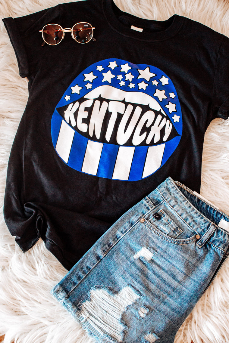 Kentucky Stars and Stripes Lip Tee-T-Shirt-Carolyn Jane's Jewelry