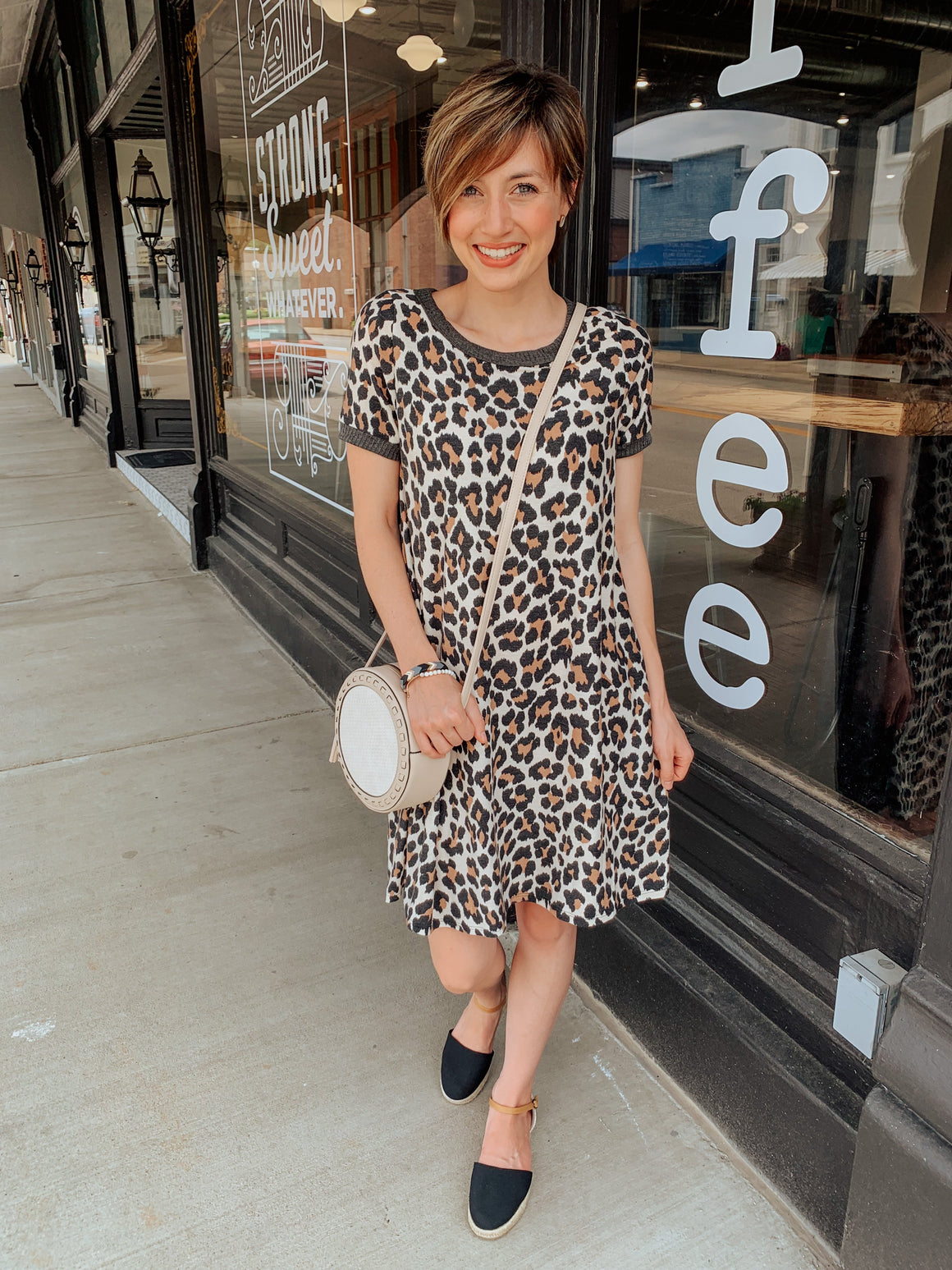 Living in Leopard Print Casual Shift Dress-Dress-Carolyn Jane's Jewelry