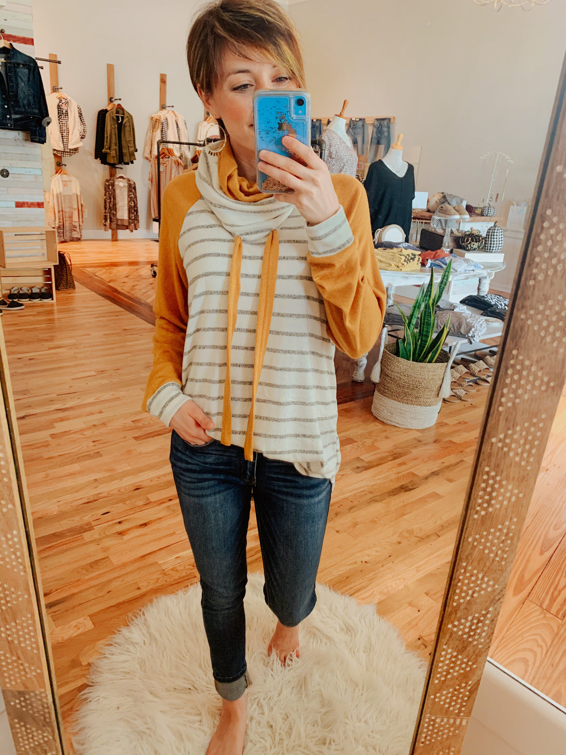 Maisy Mustard Striped Pullover-Carolyn Jane's Jewelry