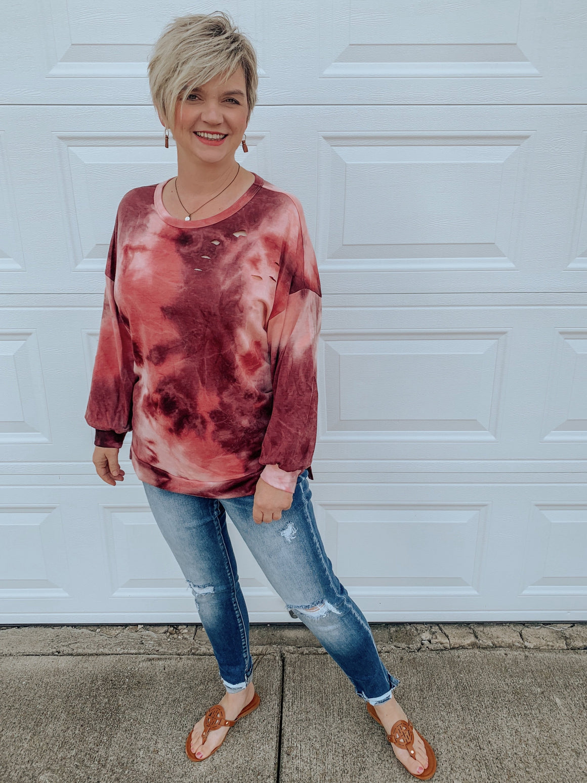 Maize in Tie Dye Distressed Top-shirt-Carolyn Jane's Jewelry
