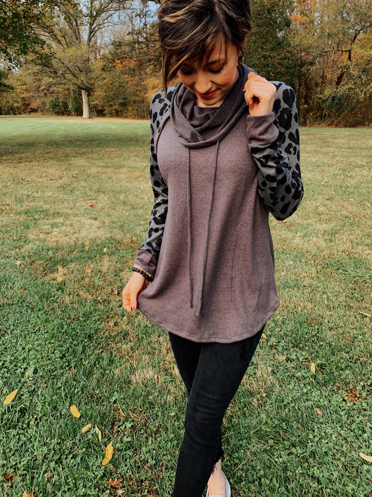 Mercedes Charcoal Cowl Neck Top-Top-Carolyn Jane's Jewelry