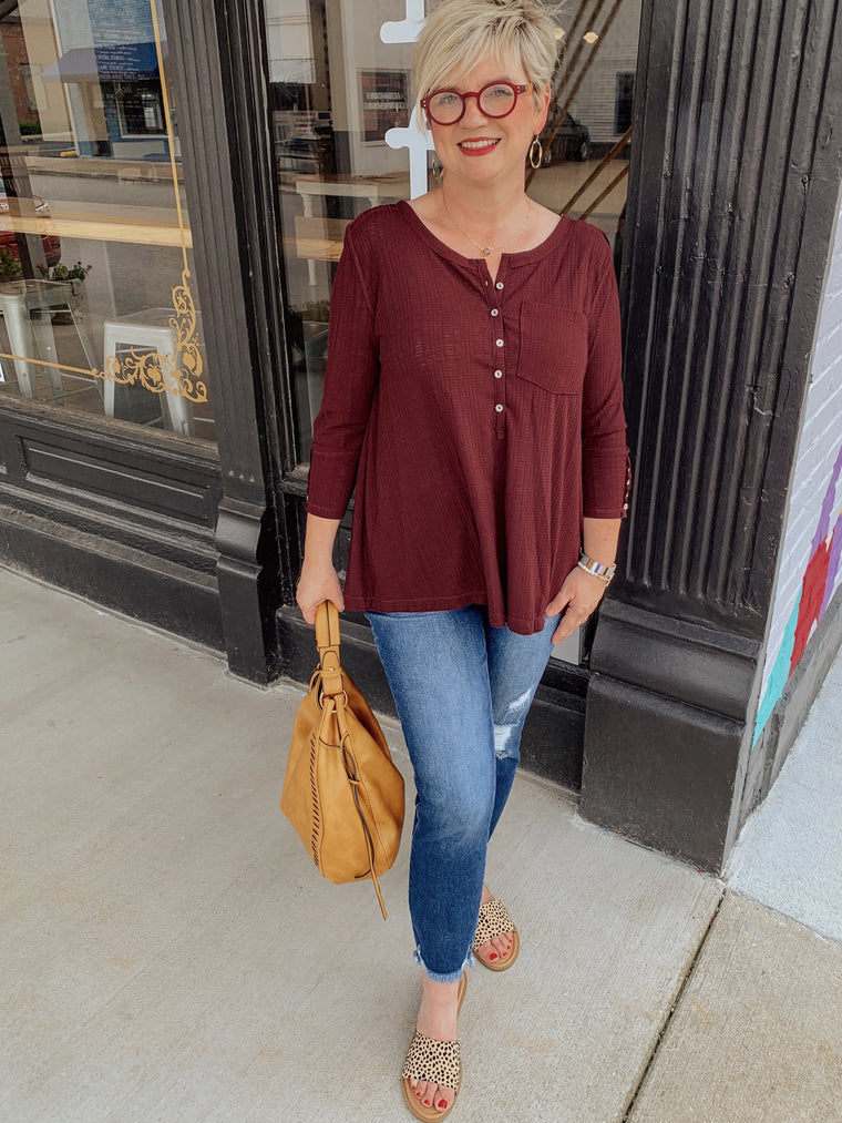 Merlot Button Henley Top-Carolyn Jane's Jewelry