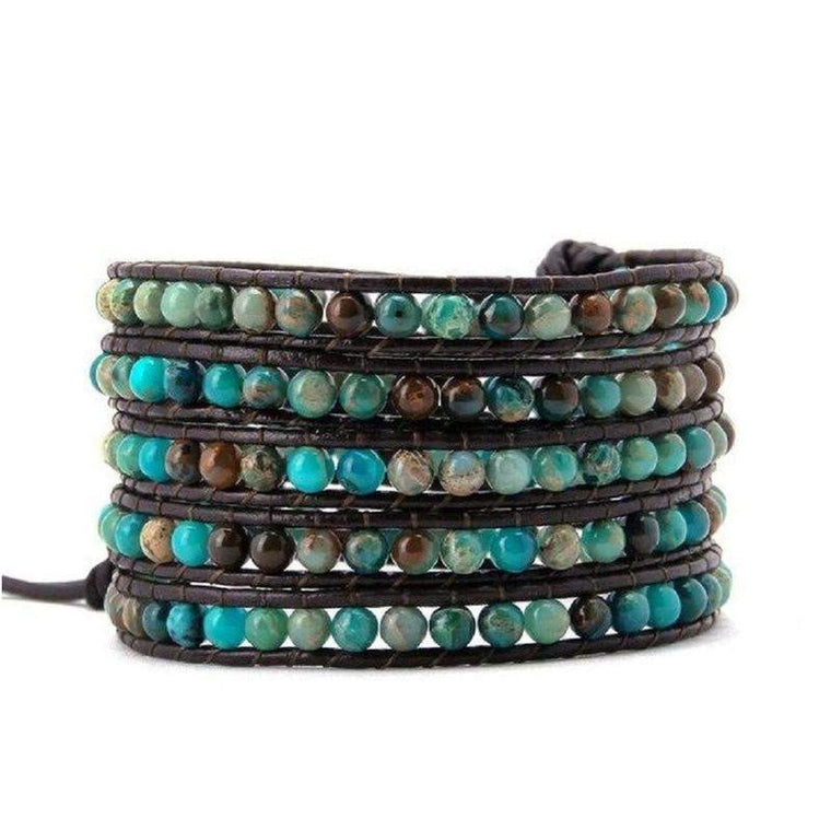 Natural Jasper Agate Turquoise Leather Beaded 5x Wrap Bracelet-Bracelet-Carolyn Jane's Jewelry