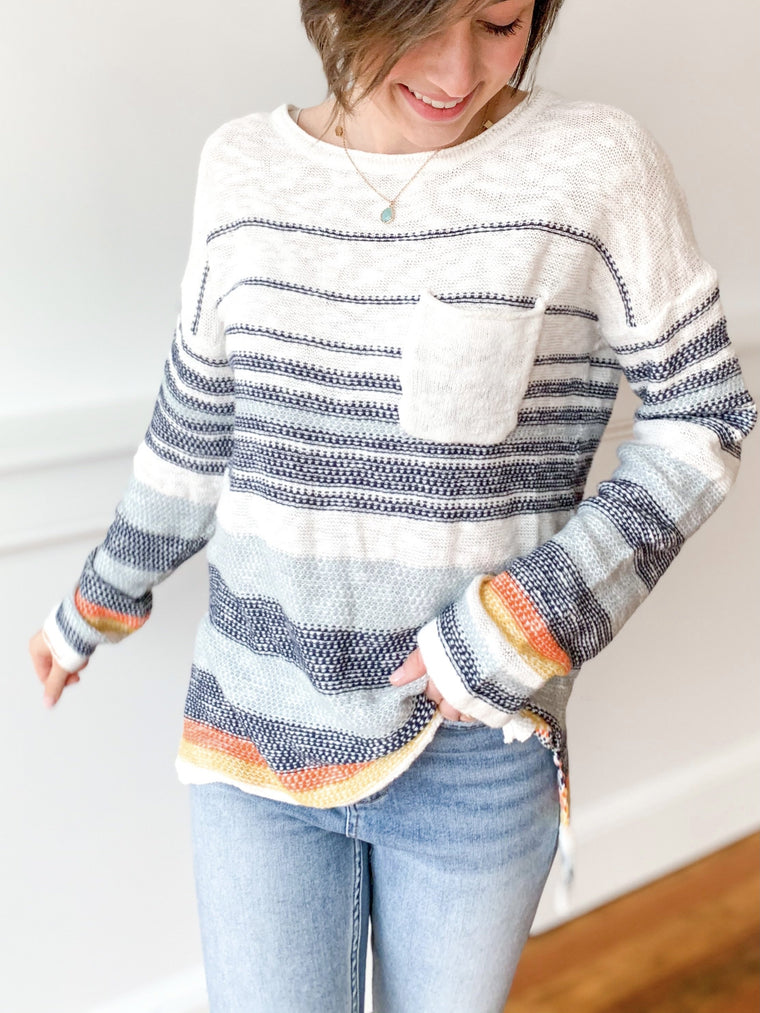 Navy Striped Pullover Top-Carolyn Jane's Jewelry