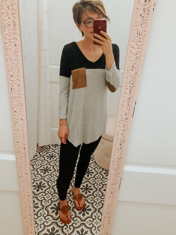 Nellie Suede Pocket V-neck Color Block T-shirt Tunic Top-Top-Carolyn Jane's Jewelry