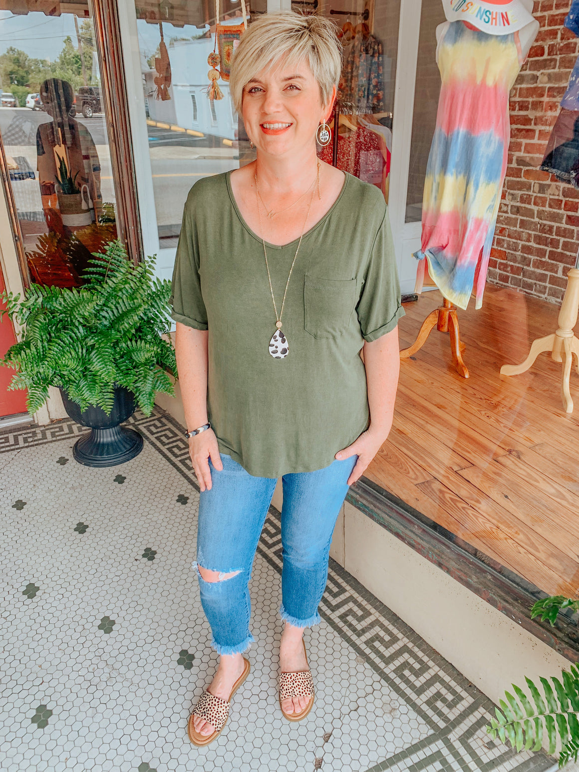 Olive You Lots Pocket Tee-Carolyn Jane's Jewelry