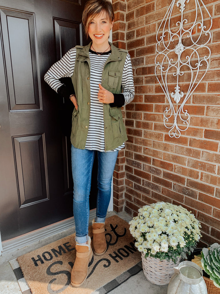 Olive You Pocket Vest-Carolyn Jane's Jewelry