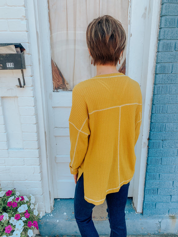 Peace Love & Comfy Waffle Top Mustard-Carolyn Jane's Jewelry