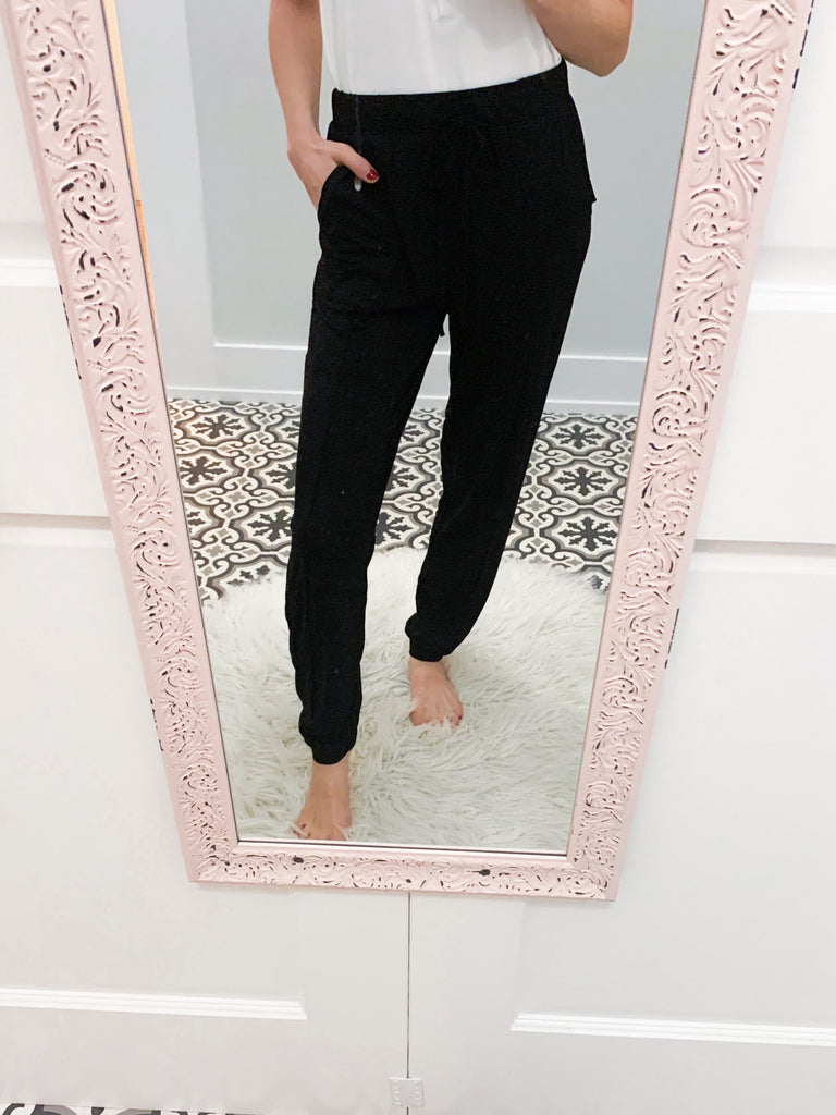 Raw Edge Black Pocket Joggers-Carolyn Jane's Jewelry