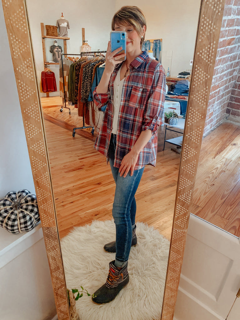Small Town Plaid Button Up-Shirts-Carolyn Jane's Jewelry