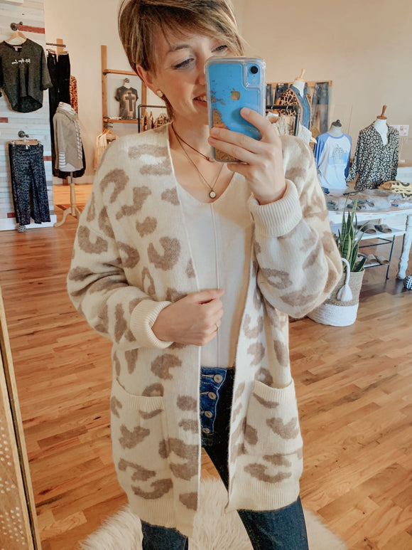 Snow Cream Leopard Print Cardigan-Cardigan-Carolyn Jane's Jewelry